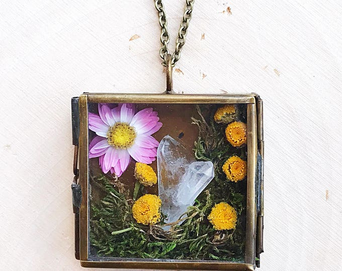 Crystal Garden Shadow Box Necklace, Reiki-Infused Clear Quartz Pendant, Natural Healing Stone, Flower Statement Jewelry, Boho, Gifts for Her