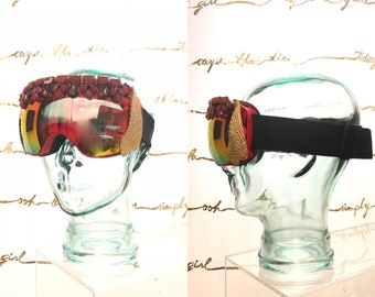 Bejeweled Bedazzled Rainbow Goggles Dust Ski Mask for Burning Man