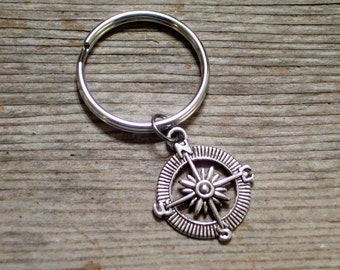 Silver Compass Keychain, Nautical Key Chain, Father's Day, Antiqued Silver Compass Charm, Chrome Plated Keychain Key Ring, Compass Keychain