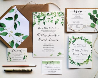 Green Leaf Wedding Invitation Set // Printed Wedding Invitations with Liner // Eucalyptus // Watercolour Leaves // Greenery // Modern