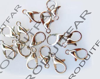 Set of 20 clasps color silver jewelry pendant necklace 12 mm lobster claws