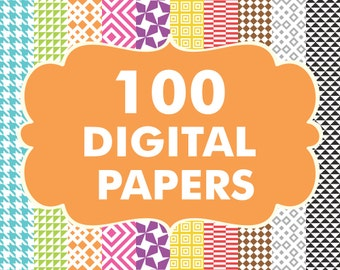 Sale 100 Digital paper Bundle, Digital Papers, Scrapbook Papers, Hounds tooth Papers, Diamond Patterns, Square Patterns