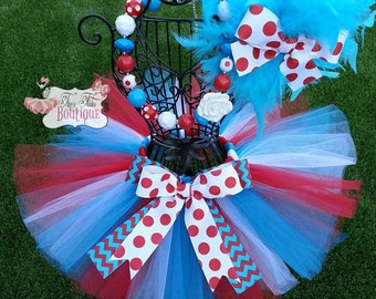 DR. SEUSS inspired- Blue, White, and Red Polka dot tutu with hairbow:  Newborn-5T