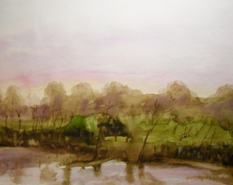 Lakeside Dusk watercolor original painting - lake painting - landscape painting - purple and green art - woodland - country landscape