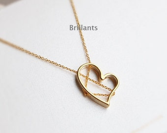 Heart pendant Necklace, Valentines day gift, Geometric necklace,  Bridesmaid gift, Everyday necklace, Wedding necklace, Simple