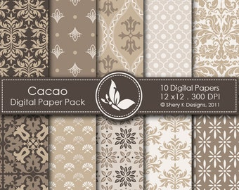 Cacao Paper Pack - 10 Printable Digital papers - 12 x12 - 300 DPI