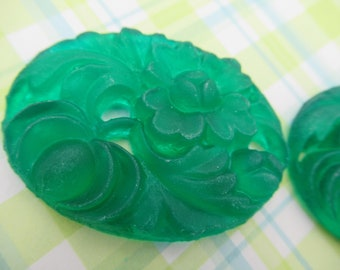 Matte Jade Cameos - Green Oval 40X30mm Cabochons - Carved Resin & Lotus Flowers - Flat Backs - Qty 6