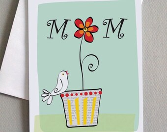 Bird and Flower, Mother's Day Card, For Mom, Wholesale