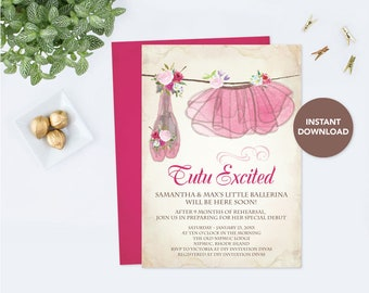 Ballerina BABY SHOWER Invitation GIRL, Ballerina Tutu, Girl Baby Shower Invitation, Instant Download Baby Shower Invite, Couples Baby Shower