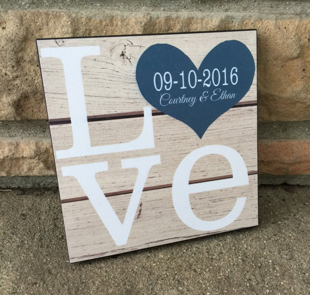 Wood Wedding Gift Ideas: Personalized LOVE Wood Sign Wedding Gift Anniversary Gift