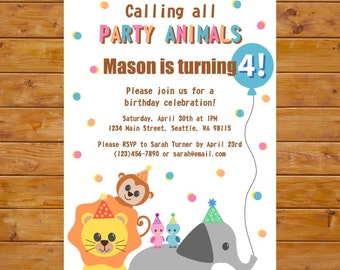 Party Animal Birthday Invitation Zoo Birthday Invitation