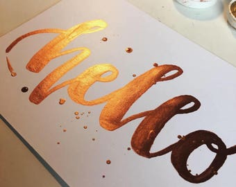 A4 Hello Copper Watercolour Quote Print