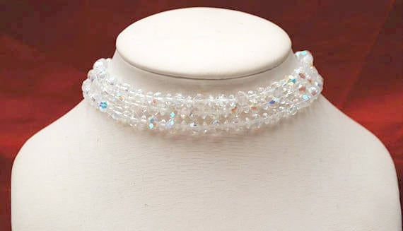 Crystal Bead  Collar Necklace - Triple multi strand  - facet cut crystal glass beads - 14 1/2 inches  Aurora borealis Wedding Bride