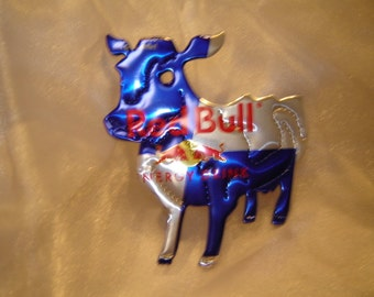 Cow Magnet or Ornament-Recycled Soda Can Art made from Red Bull  Drink Can