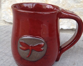 Dragonfly pottery mug, handcrafted with red dragonfly