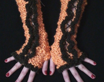 Long Fingerless Corset Gloves in Orange  with Brown Suede Ribbons and Brown Boucle Edges Victorian Style