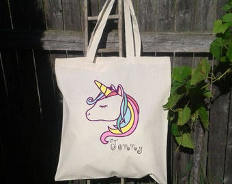 Unicorn Tote Bag, Reusable Tote Bag, Grocery Bag, Canvas Tote Bag, Personalize for FREE