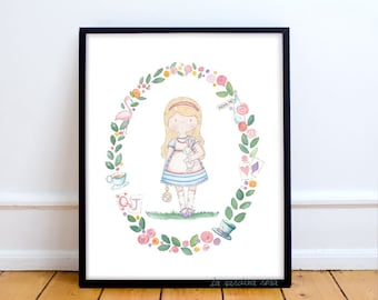 Alice in wonderland wall art, nursery print, princess nursery wall art, baby girl room decor, White rabbit print