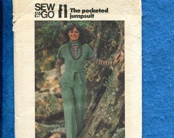 1970's Butterick 4380 Oh So Retro Zipper Front Jumpsuit Size 16 UNCUT
