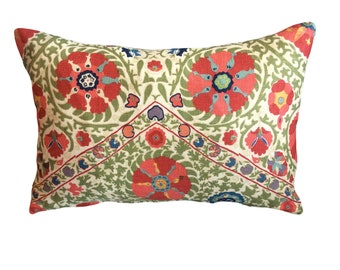 Red and Green Floral Lee Jofa Decorative Lumbar Pillow Cover