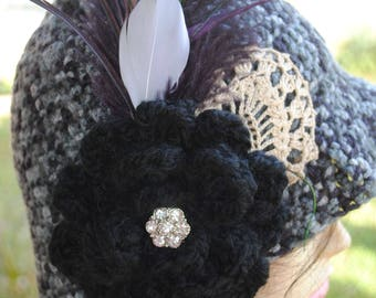 Black and Grey handmade flapper, Cloche, Bucket Cloche Hat 24in  with feathers