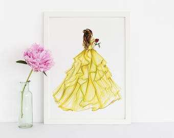 Princess and the Rose (Fashion Illustration Print) (Fashion Illustration Art - Fashion Sketch prints - Home Decor - Wall Decor )