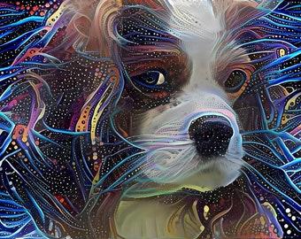 King Charles Spaniel, King Charles Cavalier, Dog Artwork, Dog Art Prints, Dog Lover Gift, Dog Portrait