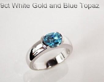 9ct 375 white gold natural oval blue topaz dress fashion friendship ring