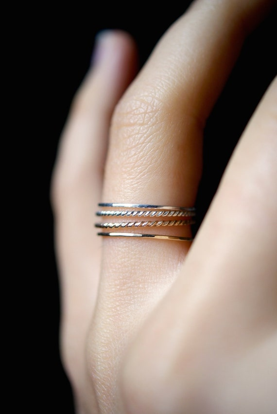 Ultra Thin Gold And Silver Twist Stacking Rings Set Of 4 14k