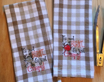 BBQ / BARBEQUE Man Towel Checkered PLAID theme, Embroidered single