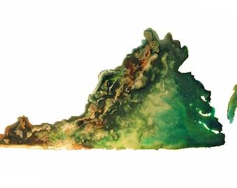 Virginia Topography Print