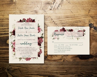 Enchanted Floral Wedding Invitation w/ RSVP