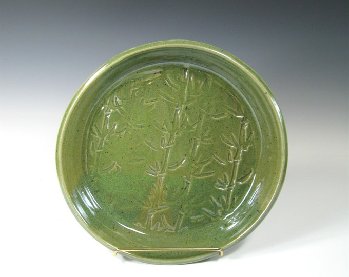 Featured listing image: Serving Platter - Centerpiece Platter - Mantelpiece Decor - Ceramic Fruit Bowl - Green Bamboo Platter - Cheese Platter - Cookie Plate - Tray