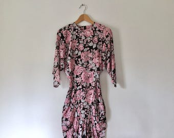 vintage 80s black floral dress fitted batwing sleeve dress ruched dress womens easter dress spring party dress tight dress dolman sleeve XS