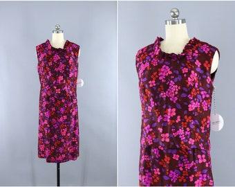 Vintage 1960s Day Dress / 60s Skirt & Top Set / 2 Piece Dress / Pink Floral Print / Mod 60s
