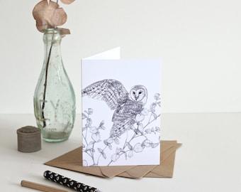 Barn Owl Illustration - Greetings Card