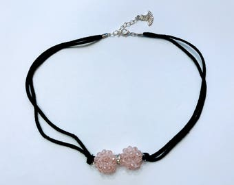 Beads Ribbon necklace with tutu charm