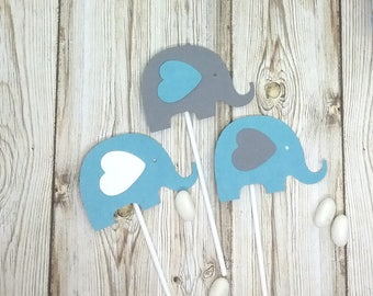 Set of 3 ornaments elephant on pic for Small cake or cupcake topper theme elephant