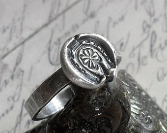 Lucky Horse Shoe Four Leaf Clover Ring in Sterling Silver - Made to Order
