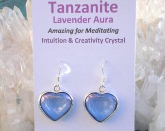 Tanzanite / Lavender  Aura Heart Earrings - Pure Joyful Energy- Wrapped in Sterling Silver  - A Grade !  Beautiful
