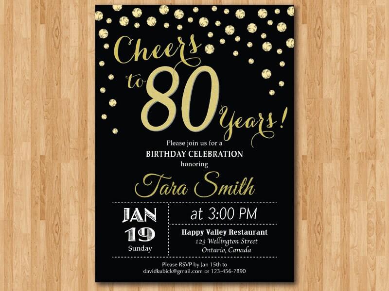 80th birthday invitation. Gold Glitter. Cheers to 80 Years