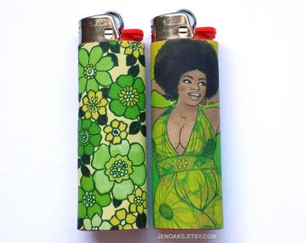 Green Curvy Babe Art Lighters (set of 2) / Plus Size Pinup / Black, Body posi, Curvy, Fat, BBW Pinup