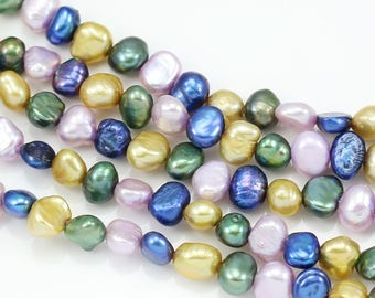 5-6mm Blue Gold Green Lilac Mixed Colour Baroque Nugget Loose Freshwater Pearls