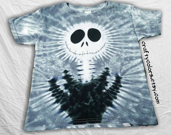 Tie Dye inspired by Jack Skellington Nightmare Before Christmas Halloween T Shirt Child Size