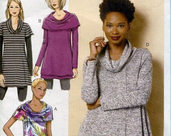 Butterick B6247 Misses Cowl Neck Tunic  Sewing Pattern Size Xsm to Med Or Lrg to Xxl UNCUT