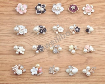 Rhinestone Pearl Button,embellishments,wedding accessories , flower centers(You Pick 5pcs/same style)