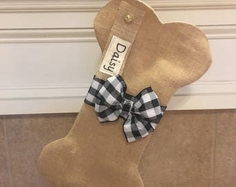 Burlap Dog Bone Stocking, Christmas, Dog Stocking, Personalized Dog Stocking, Personalized Stocking for Dogs