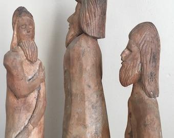Vintage Hand Carved Wooden Three Wise Men