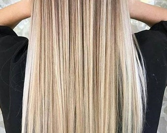 silky straight blonde tape in extension