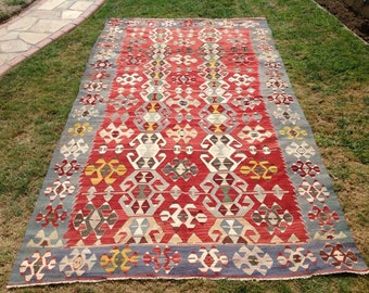 "Turkish Kilim rug, area rug, 127""x72"", rug, kilim rug, Vintage Turkish kilim, kelim rug, vintage rug, bohemian, Turkish rug, rugs,"